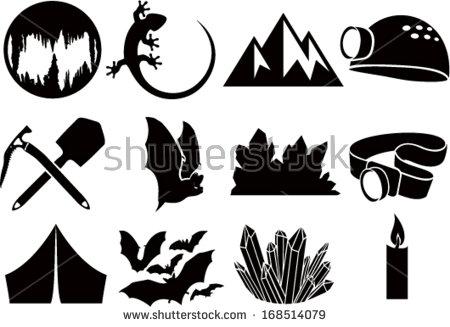 Set Vector Cave Icons Bats Lizard Stock Vector 168514079.
