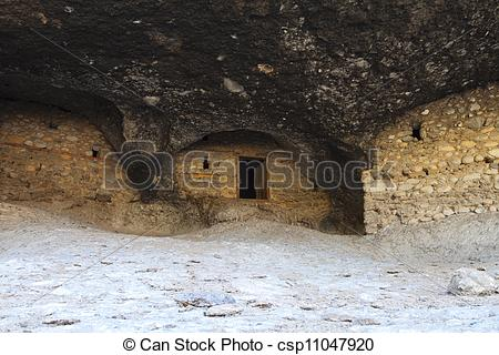 Stock Photo of Old cavernous settlement in Greece.