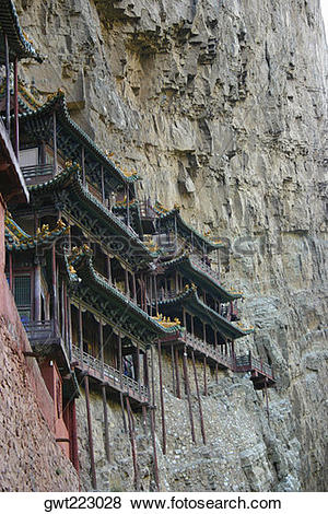 Pictures of Low angle view of buildings on a mountain, Yungang.