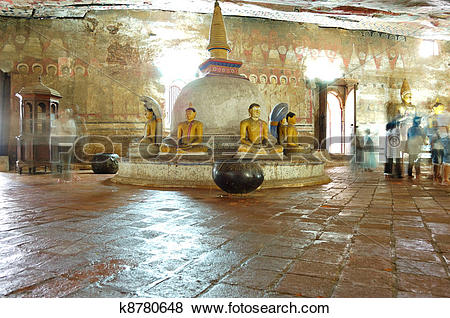 Pictures of Ancient statues of Buddha around small stupa and.