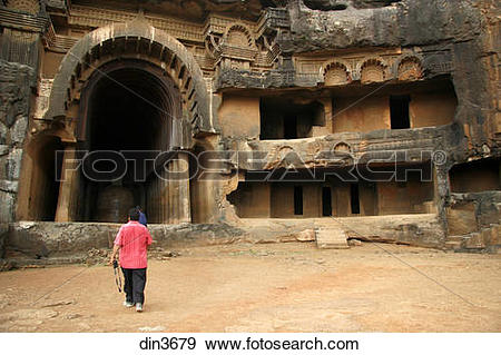 Stock Photograph of Tourist at Indian heritage place called Bhaja.