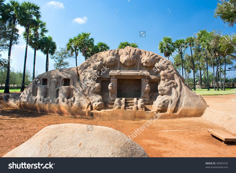 Tiger Cave Rock Temple Mahabalipuram Tamil Stock Photo 40003726.