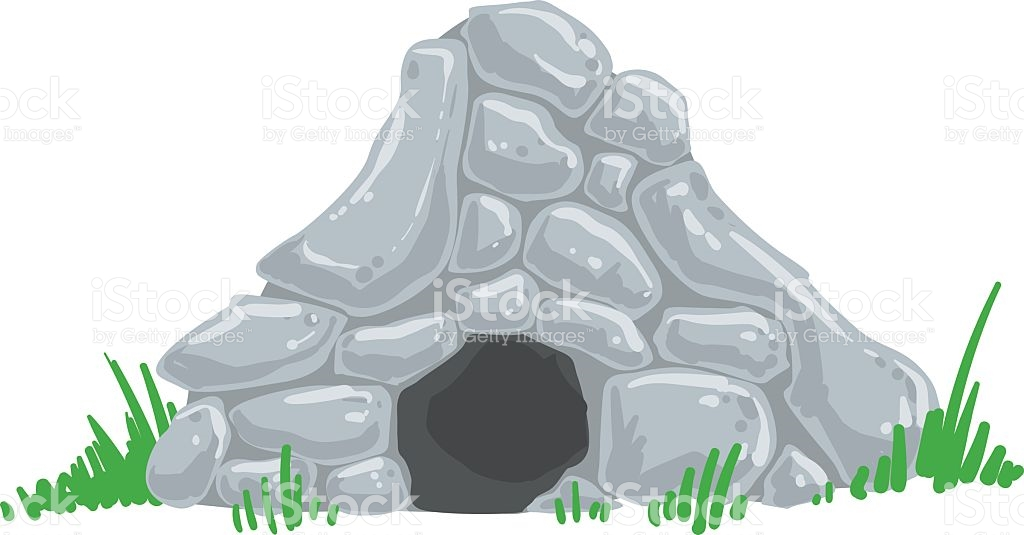 Primitive Stone Age Cave Troglodyte House Man Made stock vector.