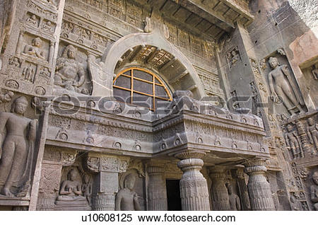 Stock Image of Buddha statues on the entrance of a cave, Ajanta.