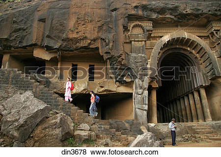 Pictures of Tourists at Indian heritage place called Bhaja caves.