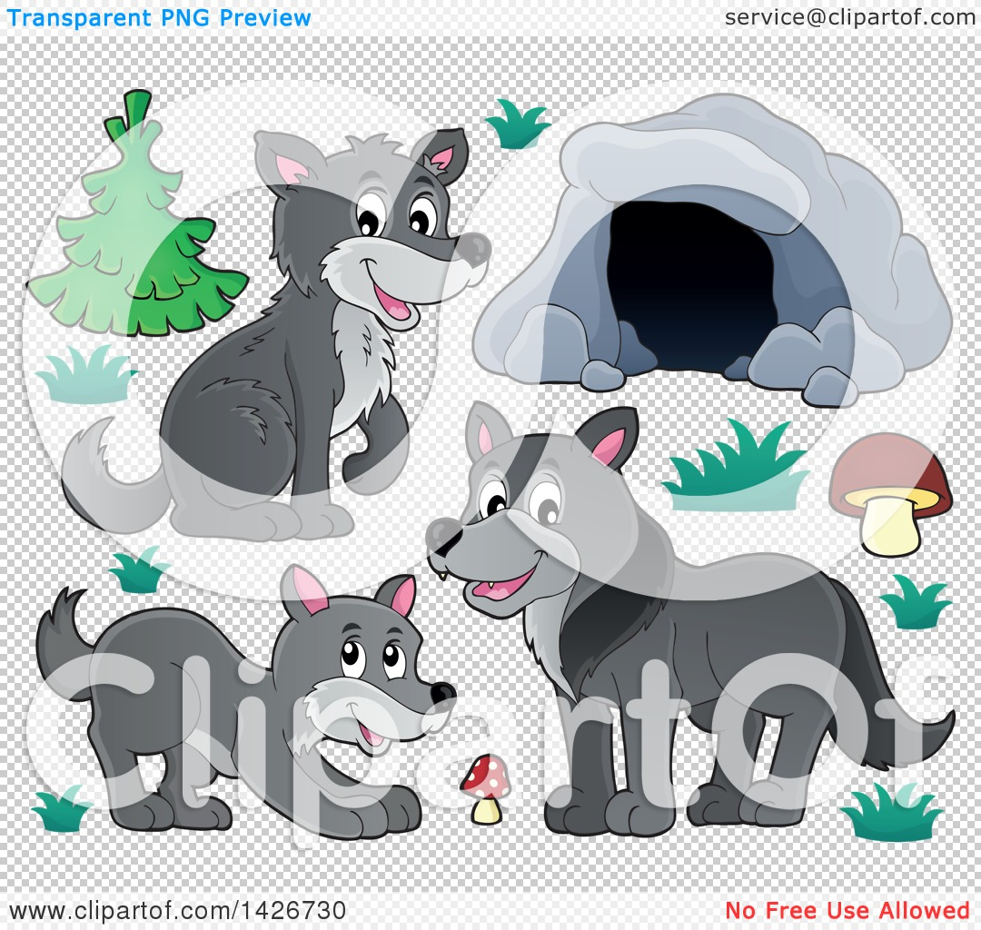 Clipart of a Cartoon Cave and Wolves.
