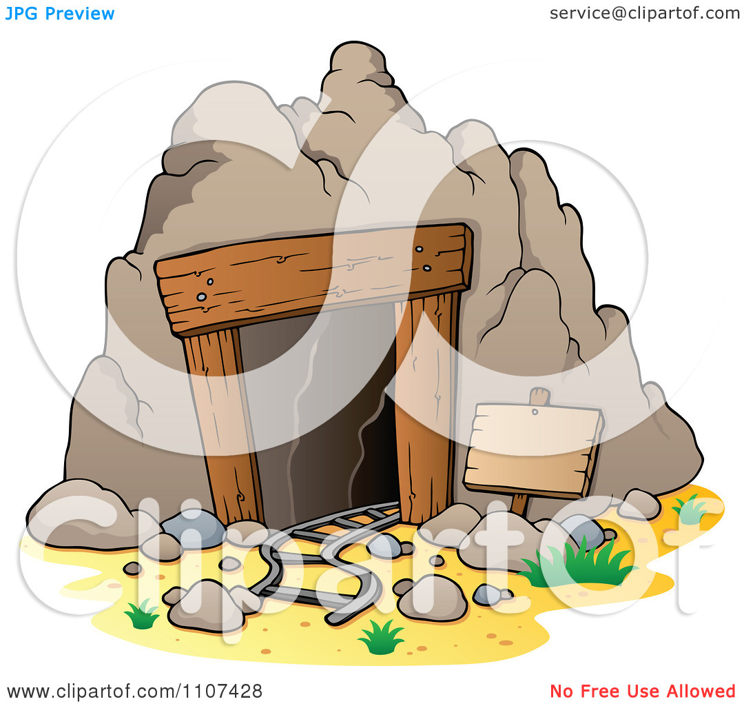Clipart Mining Cave Entrance With Rails And A Sign.