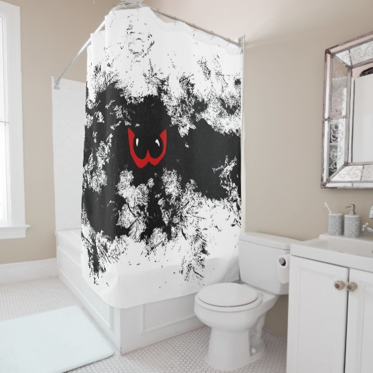 Red eyes, funny monster in dark cave clipart shower curtain.