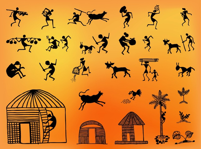 Ancient cave painting vector Vector.