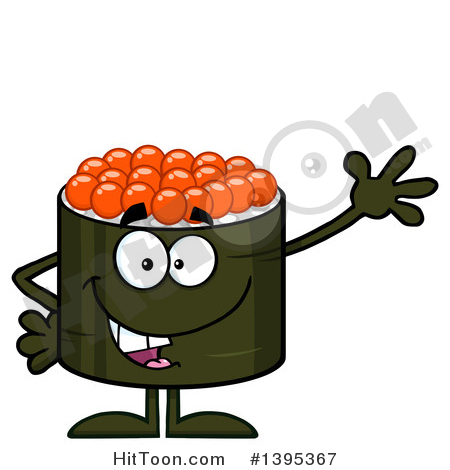 Sushi Clipart #1395367: Cartoon Happy Caviar Sushi Roll Character.