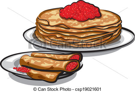 Vector Clipart of pancakes with caviar csp19021601.