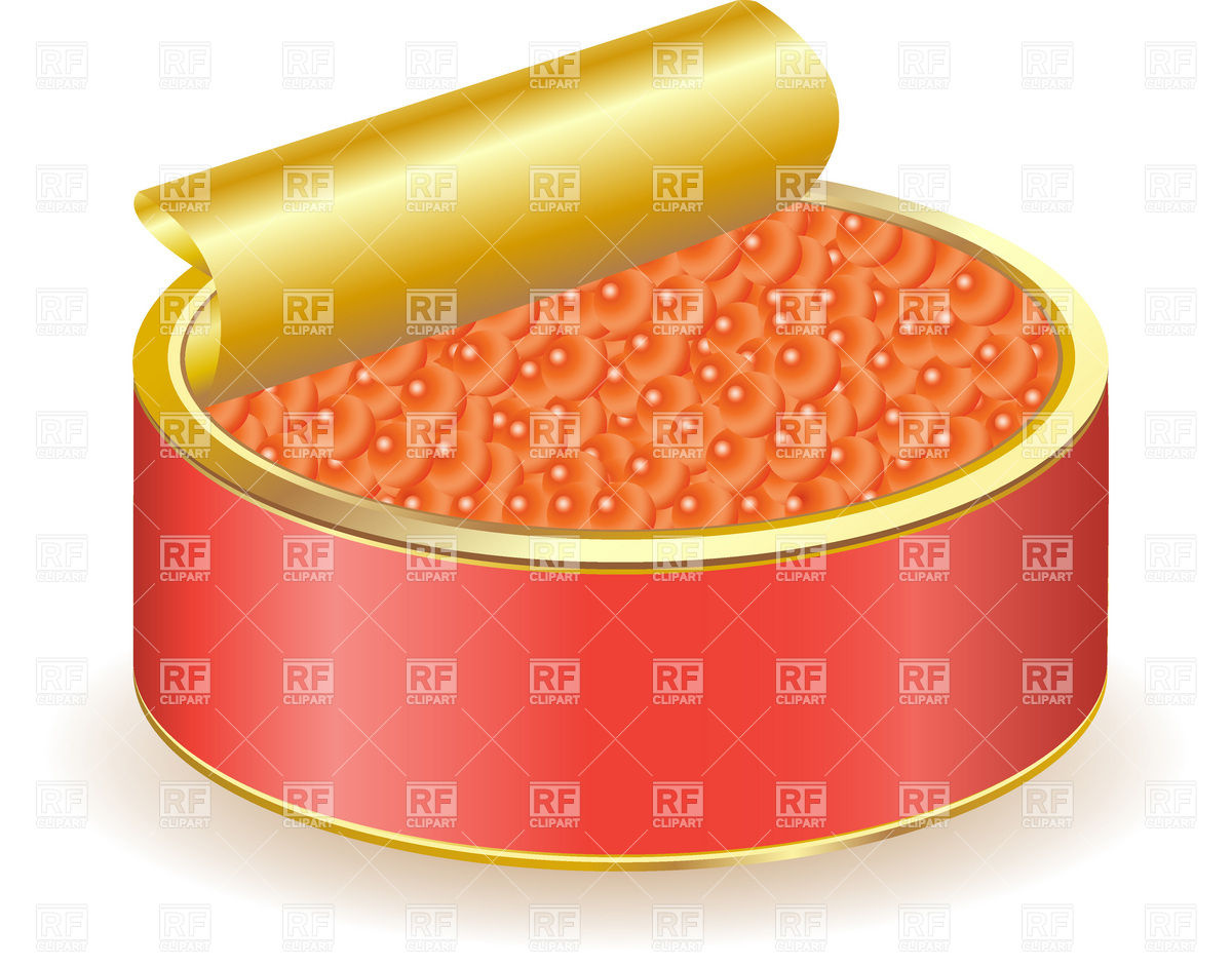 Red caviar in open tin can Vector Image #19705.