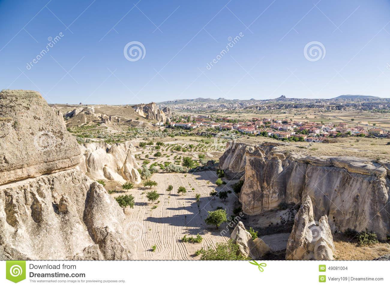 Rock Houses Of Cavusin, Cappadocia, Turkey Stock Photography.