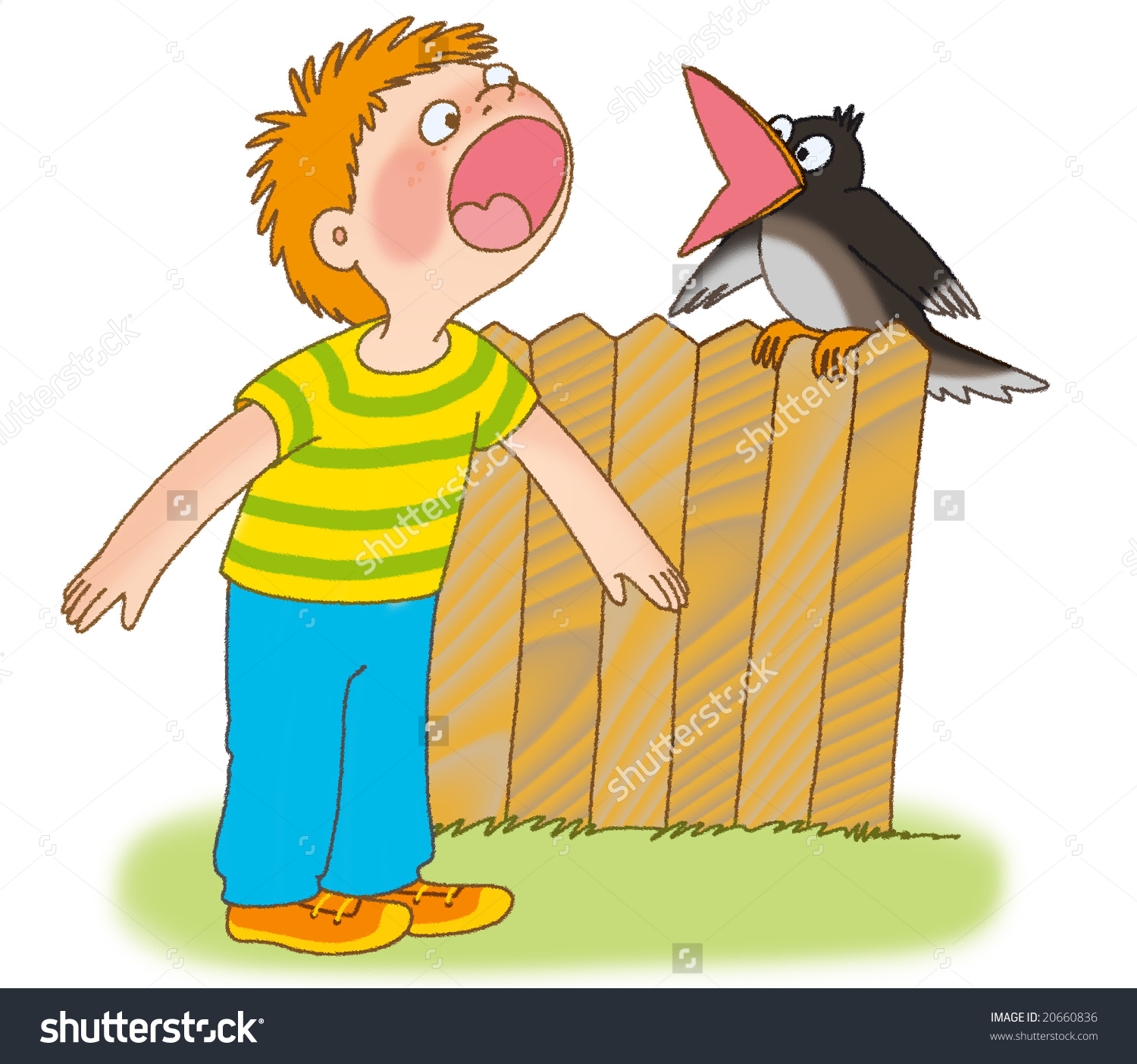 Little Boy And Crow Are Cawing Stock Photo 20660836 : Shutterstock.