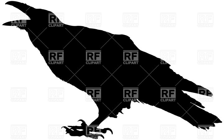 Cawing raven silhouette Vector Image #22522.