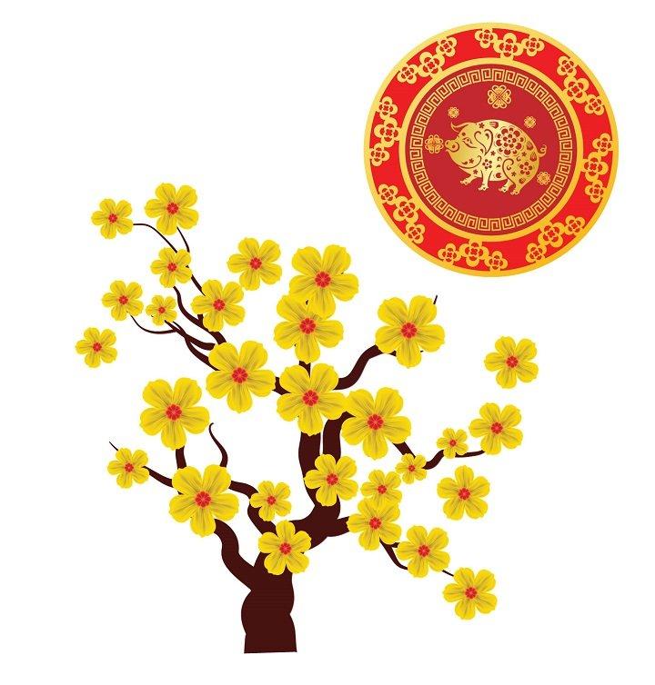 Decal Cây Mai Vàng Phúc Lộc 2019.