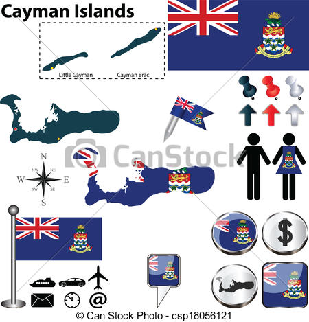 Vector Illustration of Map of Cayman Islands.