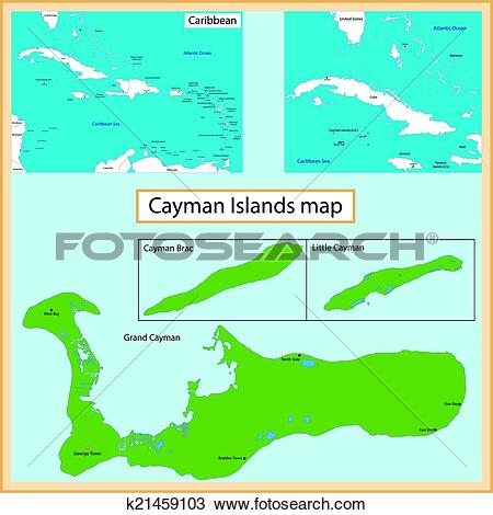 Clipart of Cayman Islands map k21459103.