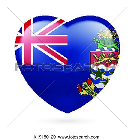 Clipart of Heart icon of Cayman Islands k19180120.