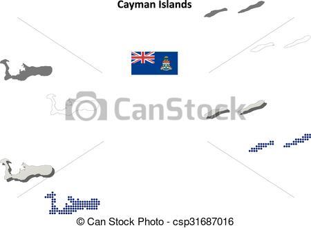 Vector Clip Art of Cayman Islands outline map set.