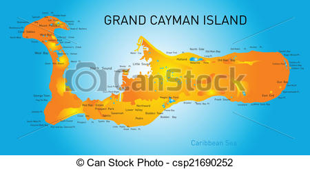 Clipart Vector of Grand Cayman islands vector map csp21690252.