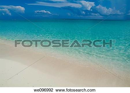 Stock Photo of Transparent water and white sand beach at Cayo.