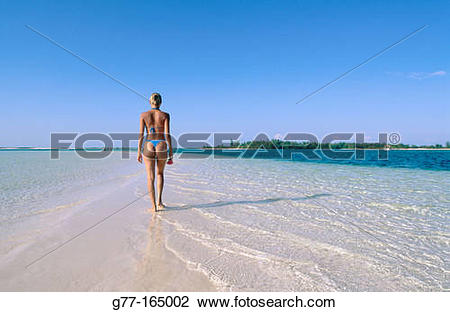 Stock Photo of Woman on the beach of Playa Sirena, Cayo Largo.