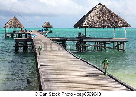 Stock Photos of Pier of Hotel Melia Cayo Guillermo. Atlantic Ocean.
