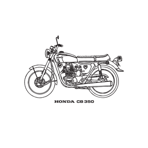 Honda CB 350 motorcycle, year 1969 clipart, cliparts of.