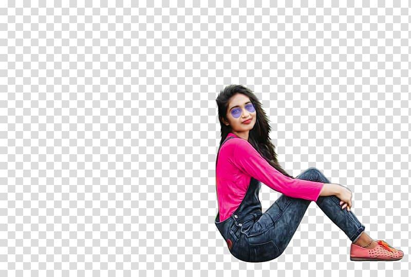Woman in overalls sitting, PicsArt Studio editing.