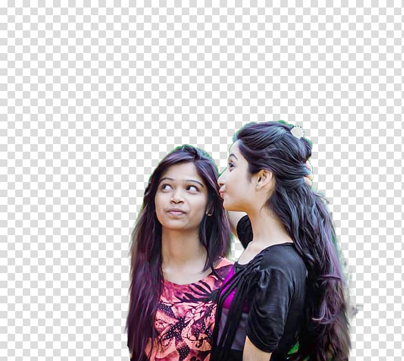 Two women looking up, PicsArt Studio editing Girlfriend.