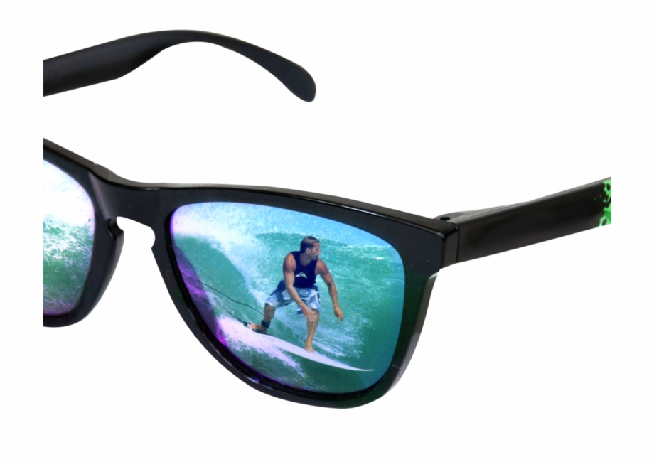 Sunglasses With Surfer Reflection Png Image.