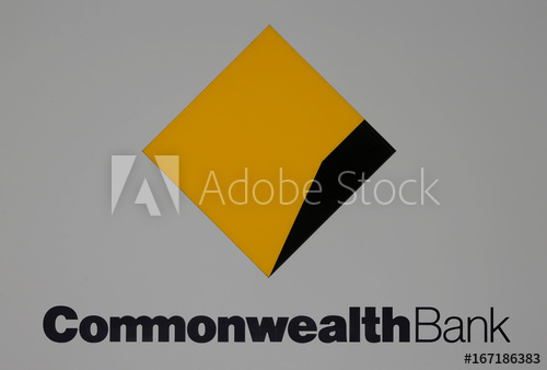 The Commonwealth Bank (CBA) logo is pictured outside the.