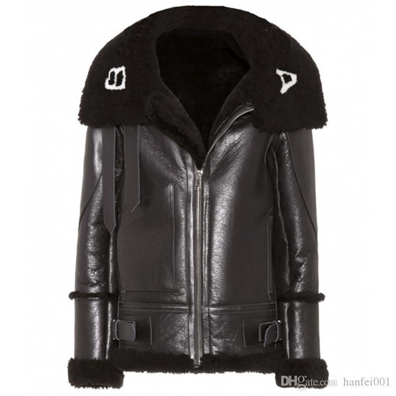 2019 Ba Logo Pu Leather Jacket Men Women Winter Long Coat Plus Velvet  Motorcycle Jacket Black Hflspy000.