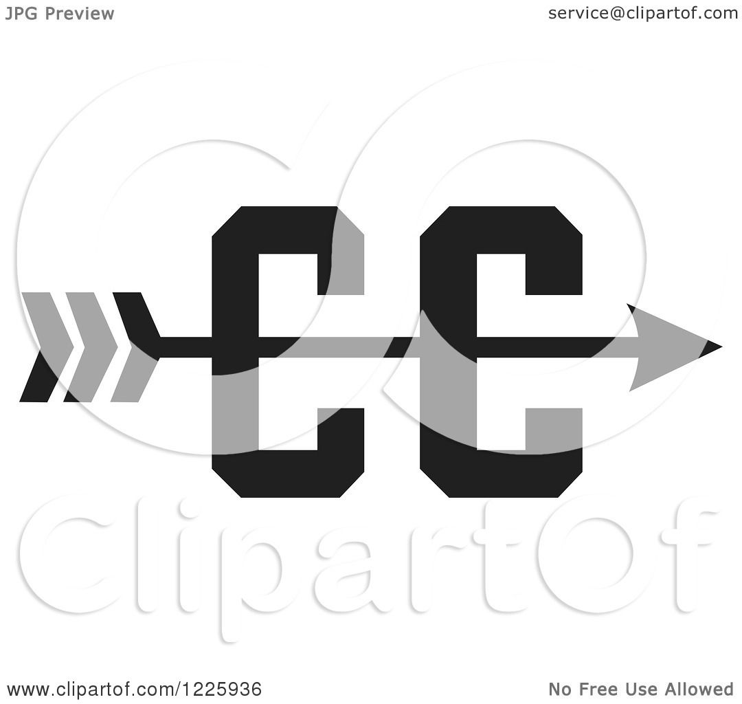 Clipart of a CC Cross Country Running Arrow Design in Black and.