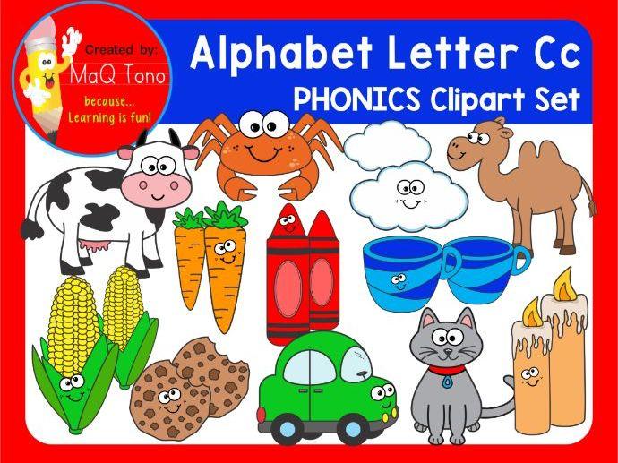 Alphabet Letter Cc Phonics Clipart Set.