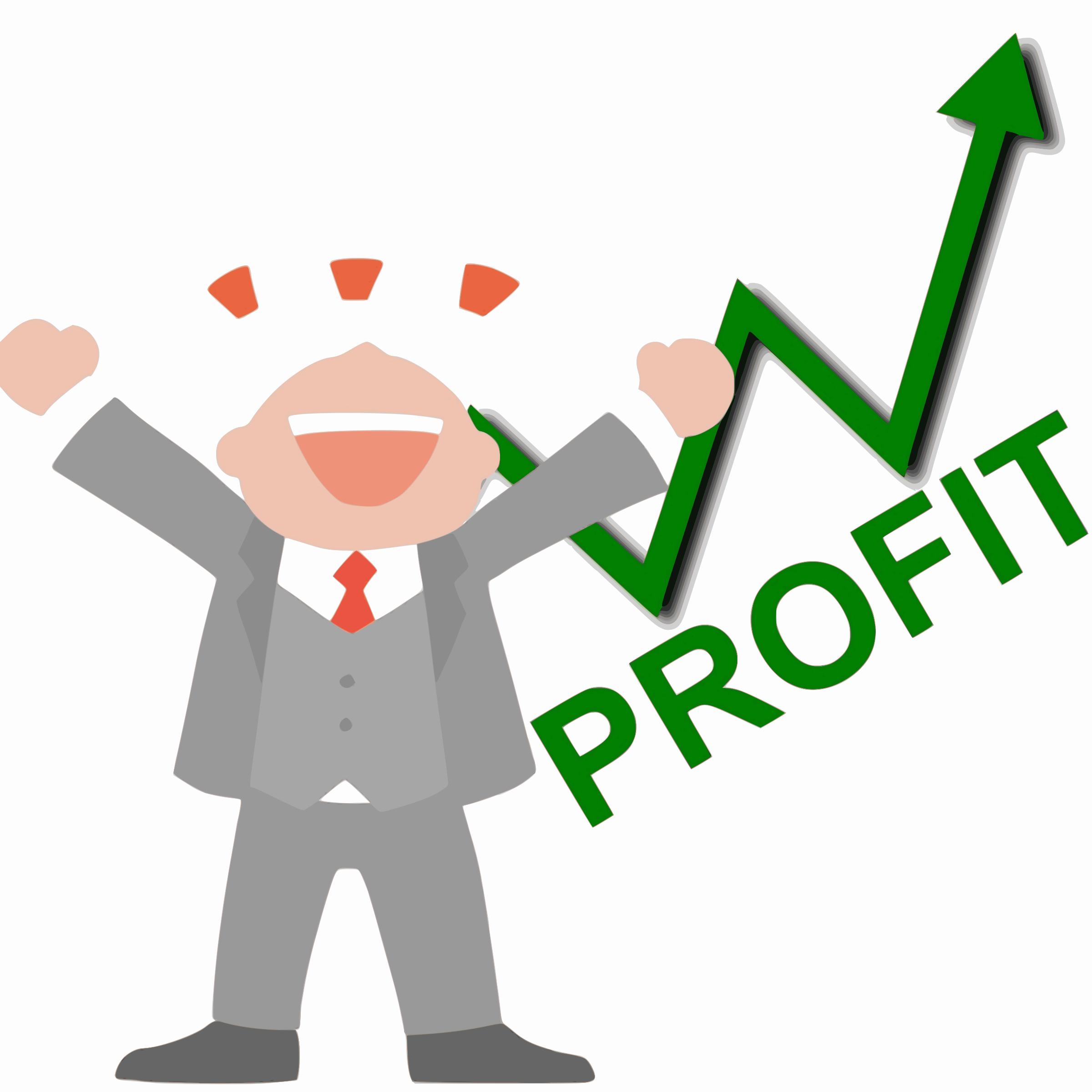 Happy Business Man Profit Vector Clipart.