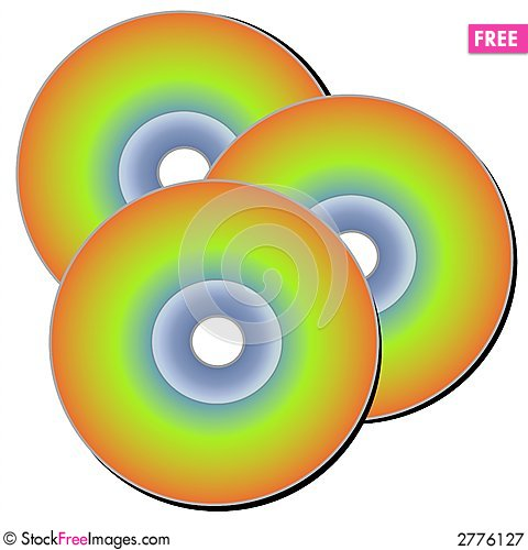 Isolated CD Discs Clip Art.