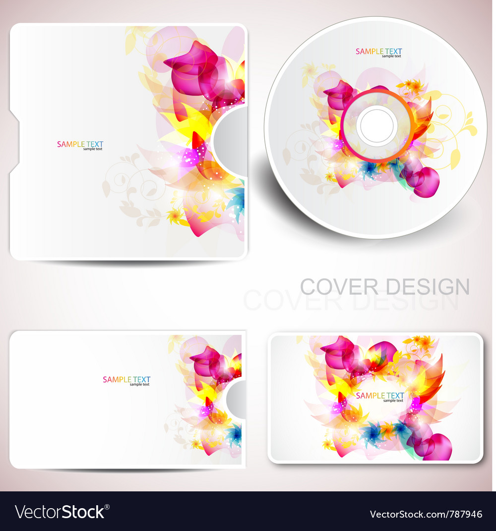 Floral cd disc cover template.