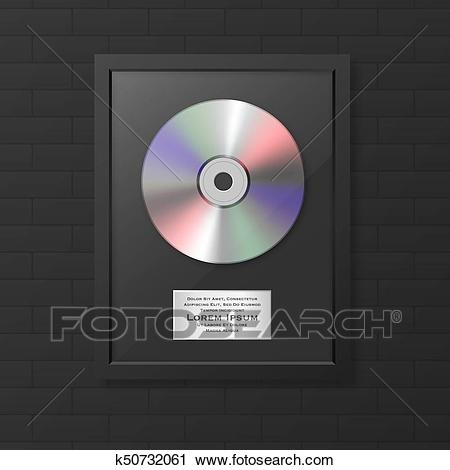 Realistic vector cd and label in glossy black frame icon.