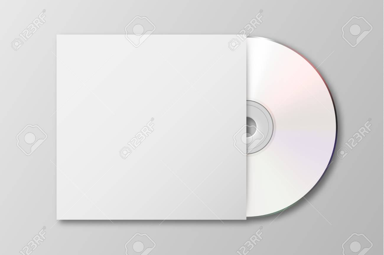 Vector realistic 3d white cd with cover icon isolated. Design...
