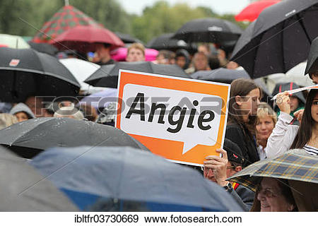"Stock Photograph of ""Angie"""""""" poster at an election rally of the."