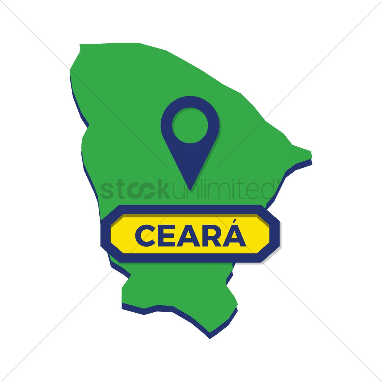 Ceara map with map pin Vector Image.