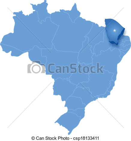 Vector Clip Art of Map of Brazil where Ceara is pulled out.