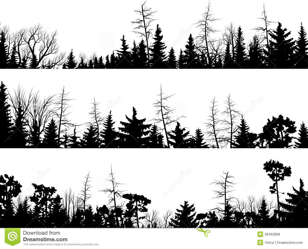 Horizontal Silhouettes Of Coniferous Wood. Stock Vector.
