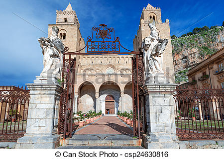 Stock Photography of Medieval norman Cathedral in Cefalu Sicily.