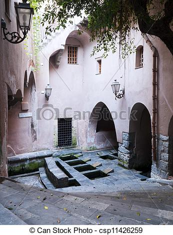 Stock Images of Medieval Laundry, Cefalu.