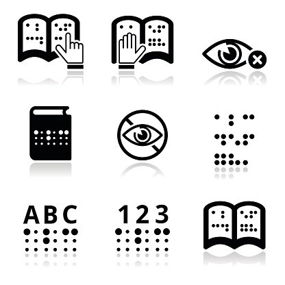 Blindness, Braille writing system icon set Clipart Image.
