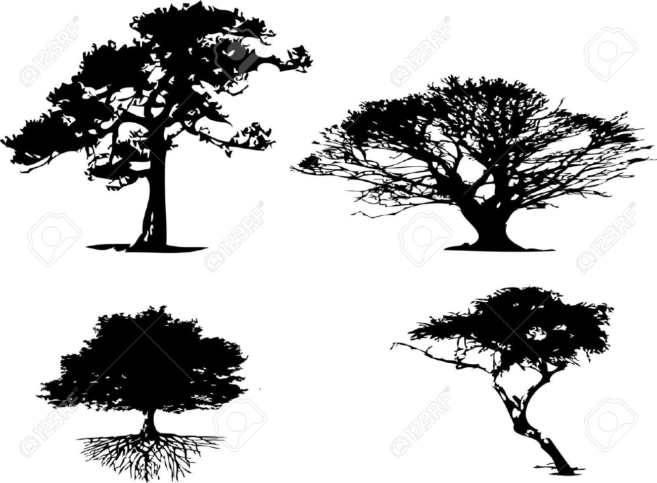4 Different Types Of Tree Silhouette Royalty Free Cliparts.
