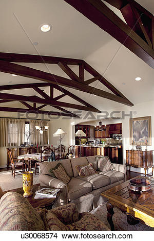 Stock Photo of Wooden ceiling beams in great room, Laguna Beach.